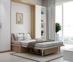 Weißes Schlafzimmer mit Möbeln aus Eichenholz und Klappbett