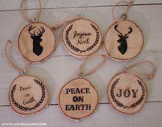Adornos con rodajas de madera.   16 Adorables adornos para el árbol de Navidad que puedes hacer tú mismo