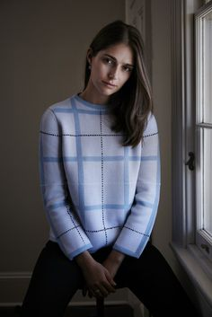 Tartan Jumper - Grey and Blue