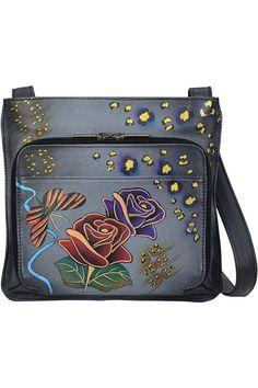 (This is an affiliate pin) Anna by Anuschka Handpainted Leather Slim Shoulder Organizer Shoulder Handbags, Shoulder Bag, Satchel, Crossbody Bag, Grey Roses, Hand Painted, Painted Roses, Messenger Bag, Diaper Bag
