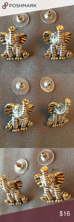 "Elephant Pierced Earrings gold and silver tone Elephant Pierced Earrings gold and silver tone. Approximately 1"" tall x 3/4"" wide.  Never been worn. Jewelry Earrings"
