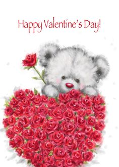 Valentine's Day, Cute Bear with a Bunch of Heart Shaped Red Roses card. Personalize any greeting card for no additional cost! Cards are shipped the Next Business Day. Happy Valentines Day Pictures, Valentines Day Drawing, Valentines Day Wishes, Holiday Pictures, Valentines Day Background, Valentine Day Love, Teddy Bear Quotes, Teddy Beer, Nurse Art
