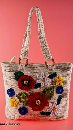 Wonderful Free Pattern Crochet Bags Project Ideas You Have Never Seen Before - Page 41 of 44 - newyearlights. Crochet Handbags, Crochet Purses, Crochet Bags, Alternative To Plastic Bags, Lace Bag, Flower Bag, Crochet Flower Patterns, Jute Bags, Patchwork Bags