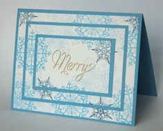 Snowflake Soiree card Triple Time Stamping...Directions on website....Marina Mist, Midnight Muse, Bashful Blue