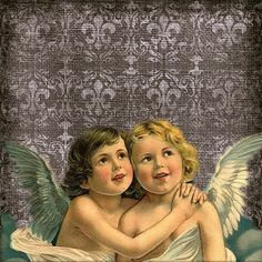 Angels Damask Vintage Background paper free.  More available from www.artsybeedigital.com