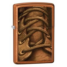 Zippo Boot Laces Toffee Brown Lighter