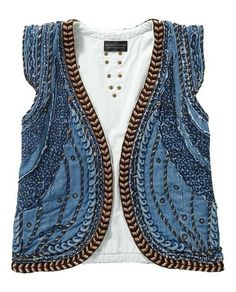 Maison Scotch Denim Gilet With Special Emb. Bohemian Mode, Boho Chic, Gilet Jeans, Denim Jeans, Look Fashion, Womens Fashion, Fashion Design, Mode Jeans, Look Boho