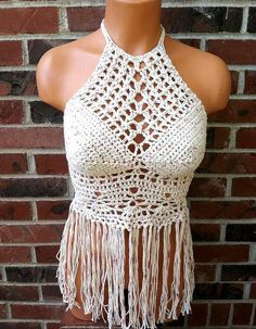 High Neck Fringe Crochet Top by Vikni Designs    Hand crochet with high quality cotton    Color: Nude tan blend    SIZE: XS, S, M and L (Item is Made To