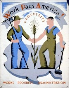 Poster for Works Progress Administration encouraging laborers to work for America. Created by artist Vera Bock for the WPA (New York) Federal Art Project, between 1936 and (Library of Congress) Hollywood Glamour, Old Hollywood, Wpa Posters, Poster Prints, Art Prints, Travel Posters, School Posters, Clemente Orozco, Works Progress Administration