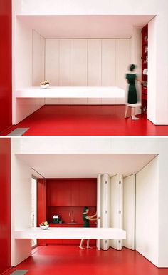 MINIMALIST KITCHEN - simple palette, clean edges - nice for a studio; folding doors could hide other stations (e.g., laundry, bunk beds, wall office)
