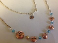 Personalized necklace with birth color Swarovski crystal.