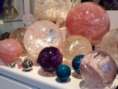 Colored glass and crystal sphere collection