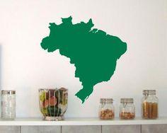 Brasilien Wandtattoo. Brasilien Wandtattoo in Höhe ab 20cm
