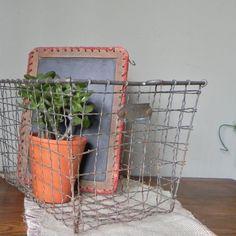 SALE Vintage metal wire locker basket rustic by jollytimeone, $33.50