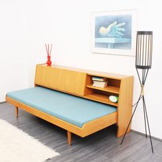1960s Elm Wood Daybed with Storage Space. Perfect for TV room.