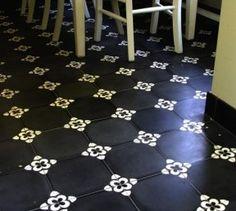 Vloertegel Pattern dusk,  zwart/wit, 20 x 20 x 1,6 cm | Cement gebonden vloertegel, zwart-wit patroon, 20 x 20 x 1,6 cm