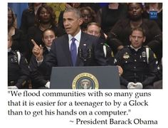 President Barack Obama claims that teens can get guns cheaper than computers at Dallas Police Shooting Memorial