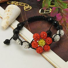 Shamballa Bracelets, with Polymer Clay Rhinestone Beads, Agate Beads and Nylon Thread, Grade A