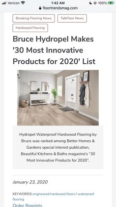 Bruce Hydropel resists water and is made to be installed easily. Engineered Wood Floors, Hardwood Floors, Flooring, Beautiful Kitchens, Kitchen And Bath, Innovation, Home And Garden, Water, How To Make