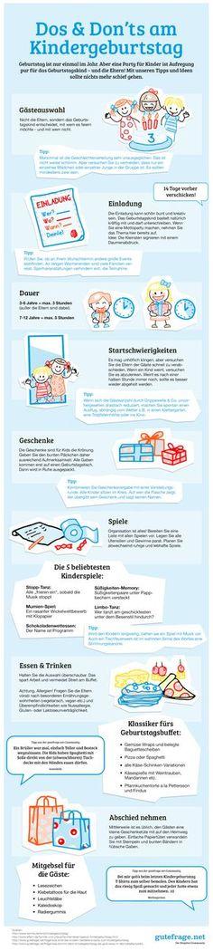 """""""gutFeiern"""" Infografik. """"Dos & Don'ts am Kindergeburtstag"""" Die besten Tipps und Tricks rund um die perfekte Planung für die gelungene Party gibt es hier:"""