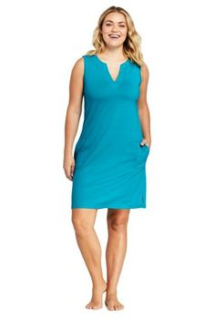 9769c254c9 Women s Plus Size Cotton Jersey Sleeveless Tunic Dress Swim Cover-up from  Lands  End
