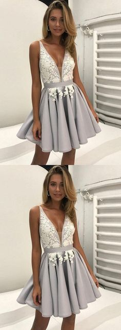 Cute Grey Lace Applique V Neck Homecoming Dress,Short Prom Dress,Backless Graduation Dress