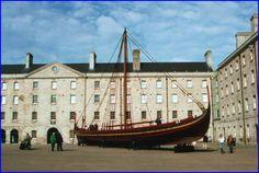 Viking Dublin - replica Viking ship on display at Collins Barracks, Dublin Viking Ship, Local History, Dublin, Vikings, Display, Architecture, The Vikings, Floor Space, Arquitetura