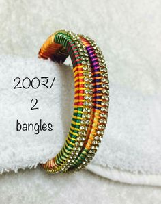 Silk Thread Bangles Design, Silk Bangles, Silk Thread Earrings, Bridal Bangles, Thread Jewellery, Beaded Necklace Patterns, Jewelry Patterns, Bangles Making, Thread Art