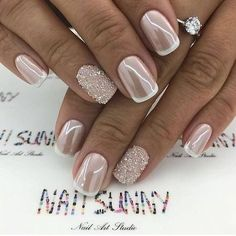 Design de unhas de noiva e casamento fotos de unhas de casamento - Braut Nägel - Bridal nails - Wedding Manicure, Wedding Nails For Bride, Bride Nails, Wedding Nails Design, Wedding Nails Art, Glitter Wedding Nails, Ivory Wedding, Bridal Nail Design, Green Wedding