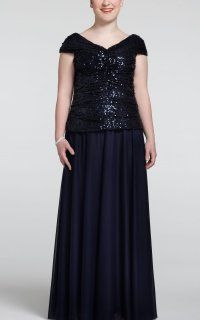 Dramatic Long Lace Jacket Dress With Silky Skirt and Empire Waist