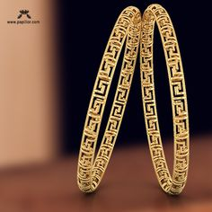 Papilior - The perfect destination for designer Gold Bangles Antique Jewellery Designs, Gold Ring Designs, Gold Bangles Design, Gold Earrings Designs, Gold Jewellery Design, Gold Jewelry, Fancy Jewellery, Jewelry Art, Plain Gold Bangles