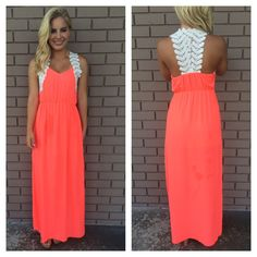 Greek Goddess Crochet Maxi Dress- NEON CORAL from Dainty Hooligan. Shop more products from Dainty Hooligan on Wanelo. Dresser, Elegant Outfit, Boutique Dresses, Dress Me Up, Pretty Dresses, Dress To Impress, Dress Skirt, Bridesmaid Dresses, Maxi Dresses