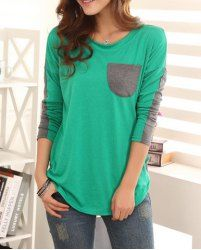 $8.41 Color Block Ladylike Style Pocket Splicing Bat-Wing Sleeves T-shirt For Women