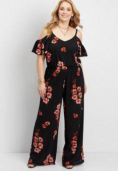 6c0fb032ea5 Plus Size Casual Dresses. plus size floral cold shoulder jumpsuit