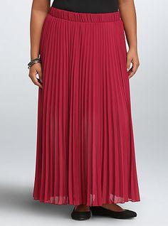Pleated Chiffon Maxi SkirtPleated Chiffon Maxi Skirt, BEET RED