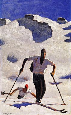 'Der Aufstieg' by Alfons Walde Art And Illustration, Illustrations, Figure Painting, Painting & Drawing, Vintage Ski Posters, Kunst Online, My Art Studio, Museum, Famous Artists
