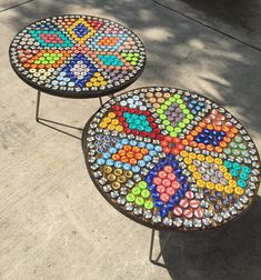 Bottle cap tables.  Epoxy resin top.  Bottle cap art!  Hairpin legs.