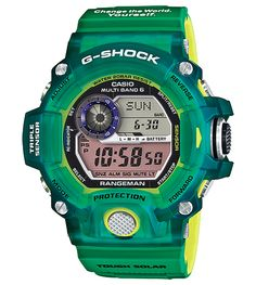 For clearance on this brand new Limited G-Shock Earthwatch Rangeman Love The Sea And The Earth that using skeleton clear green material and has the atomic radio multiband 6 Casio G Shock Watches, Sport Watches, Casio Watch, Cool Watches, Watches For Men, Men's Watches, Fashion Watches, Japanese Domestic Market, Gifs