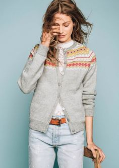 Ravelry: Nordkapp uten lus pattern by Sandnes Design Fair Isle Knitting, Hand Knitting, Knitting Patterns, Knitting Sweaters, Cardigan Design, Knit Cardigan, Norwegian Knitting, Winter Tops, Sustainable Clothing