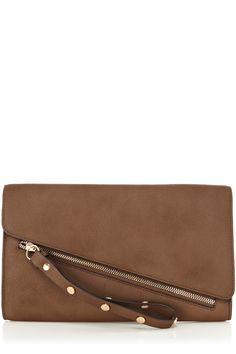 Brown Asymetric Zip Clutch