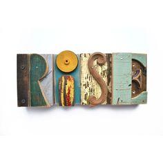 custom sign letters vintage wood original art typography  by Elizabeth Rosen. $20.00, via Etsy.
