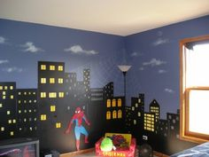 Im going to do something like this in Timmy's room, but only on one wall and the wall  will be black with grey buildings and then in the black sky we will put glow in the dark stars.