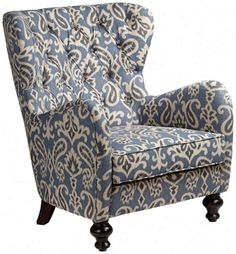 Charming Soft Blue Ikat Pattern Armchair Images