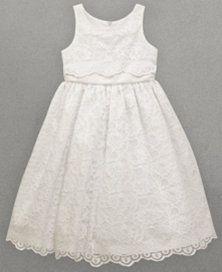Jayne Copeland Girls' Lace Overlay Flower Girl Dress