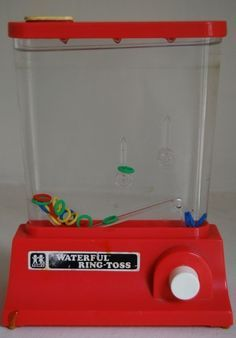 Waterful Ring Toss.  80s game. Fill with water, then press the pump button to try and get the plastic rings to set on the posts.