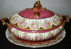 BAVARIAN PORCELAIN COVERED SOUP TUREEN:Soup tureen with under plate. Colors of berry with gold accents, hand painted figures surrounding all pieces. Kings Table, Wedding Ceiling, Gravy Boats, Antique Auctions, Vintage China, Serving Platters, China Porcelain, Earthenware, Gold Accents