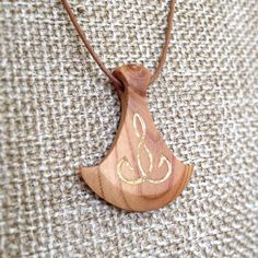 "Hand Carved Hardwood Apricot Tree Pendant ""Golden Axe"" With Gold Leaf Inlay - wood pendant, natural jewelry, necklace pendant, organic, axe"