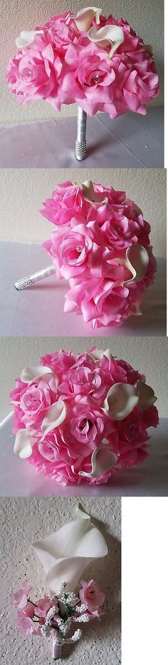 Flowers Petals and Garlands 20938: Pink Rhinestone Rose Calla Lily Bridal Wedding Bouquet And Boutonniere -> BUY IT NOW ONLY: $39.99 on eBay!