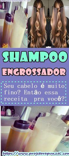 Receita do shampoo engrossador de cabelo totalmente caseiro com mel e babosa. Aprenda como engrossar seus fios ralos e finos. Food And Drink, Hair Beauty, Hairstyle, Bottle, Drinks, Shampoos, Pasta, Shampoo For Fine Hair, Updos For Thin Hair
