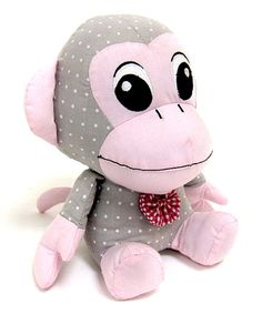 Take a look at this Gray & White Dotted Fabric Monkey Bookend by Concepts on #zulily today!